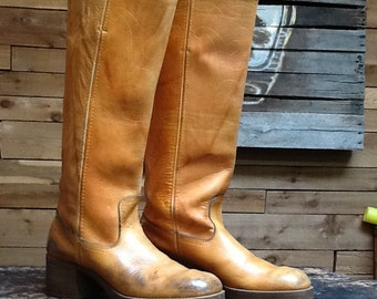 Vintage 1970s Campus Boots VTG All Leather Tall Brown Riding Boots with Embroidered Stitching Hippie Festival Boho Platforms Women's Size 7