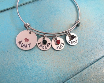 Aunt Bangle Bracelet, Personalized Gift For Aunt, Hand Stamped Aunt Bracelet, Birthday Gift For Aunt, Aunt Charm Bracelet