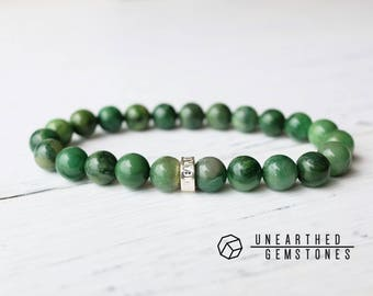 Verdite Bracelet - Gemstone Bracelet, Forest Green Jewelry, Natural Gemstone Bracelet, Beaded Bracelet, Gift Idea Jewelry