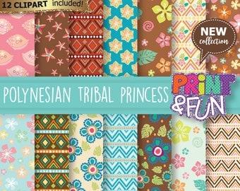 Polynesian tribal princess, Hawaiian, Brilliant colors Digital Paper, Patterns, Backgrounds, Scrapbooking, for  party invitations