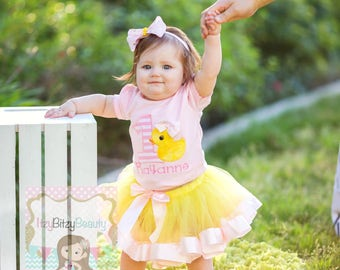Baby Girls Duck Ducky First Second Birthday Ribbon TUTU Outfit Light Pink Yellow Rubber Duckie