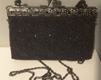 Vintage Inge Christopher Antique Look Black Beaded Evening Bag Tag From Consignment