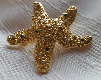 Vintage Swarovski Crystal starfish pin/ brooch, multicolor.