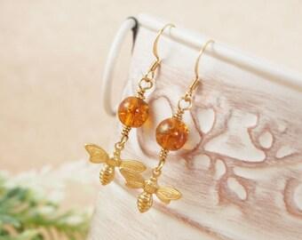 Bee Earrings, Bee Jewelry, Insect Jewelry, Czech Glass Earrings, Honey Bee Earrings, Bee and Honey, Brass Bee Earrings, Insect Earrings