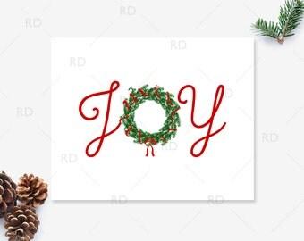 Joy - PRINTABLE Wall Art With Christmas Wreath / Holiday printable / Christmas Printable / Christmas joy printable / Xmas Joy Art