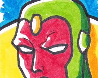 """Avengers Vision ACEO trading card2 1/2"""" x 3 1/2"""""""