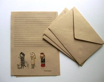 "Letter Writing Set, ""Rock NEKO"" / Freddie Mercury / Queen / Guns'n'Roses / Axl Rose / Madonna / Notepaper / Writing Paper"