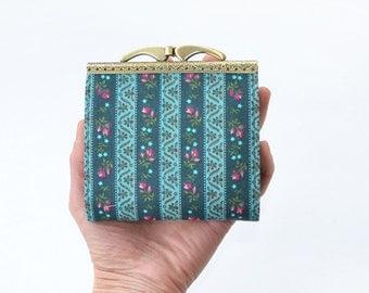 Womens credit card holder, credit card sleeve, card holder wallet, card wallet, card organizer, card case, vegan holder, stripe fabric, rose