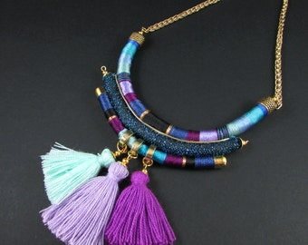 Purple Blue necklace, Rope necklace, Fabric Necklace, thread necklace,tassel Necklace, African necklace,bib necklace,statement necklace
