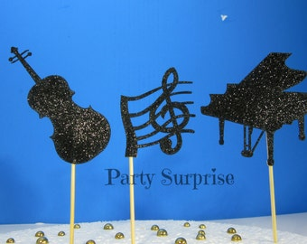 Music Cupcake Toppers Pian Treble Clef Bolack Toppers Orchestra Band Dance Cake and Cupcake Toppers