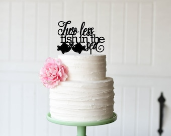 Two Less Fish in the Sea Wedding Cake Topper - Custom Cake Topper