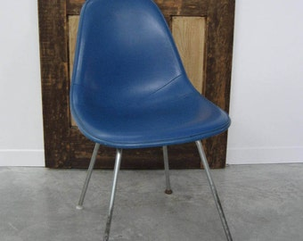 Vintage Eames Herman Miller Fibreglass Side Shell Chair - Alexander Girard Naugahyde Rare Blue Cover - Embossed logos - circa 1960s-mid70s
