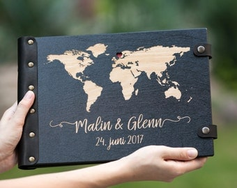 Travel Photo Album, Photo Album, Travel Album, Wood Photo Album, Wedding Album, Travel Guest Book, Custom Wedding Album, Map Guest Book
