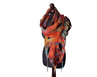 Felted scarf felt scarf felted collar handmade art to wear multicolor rainbow felt colorful boho spring gift wearable art OOAK