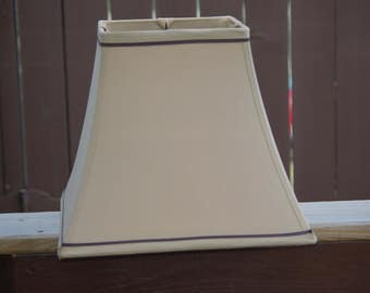 Lamp Shade Supplies,Brown Medium Lamp Shade, Lamp Shade, Lining is Beige,Square - 11 inches Tall