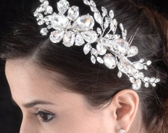FREE SHIPPING, crystal hair comb, wedding side comb, bridal comb, crystal comb, wedding side hairpiece, wedding comb