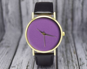 Lilac Dial | Minimalist | Leather Watch | Ladies Watch | Men's Watch | Gift for Him for Her | Wedding Gift | Birthday Gift | Accessories