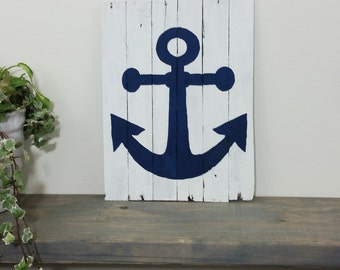 Barn Wood Sign - Dark Blue Anchor - White Wash Board - Antique Wood - Rustic Reclaimed - Nautical Home Decor - Bathroom Art - Beach Bedroom