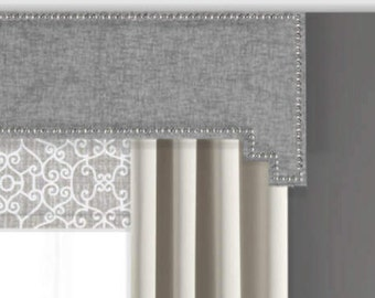 Cornice Board Pelmet Box Window Treatment in Gray Jackson Fabric with Nailhead Trim - Step Step Cornices by Designer Homes