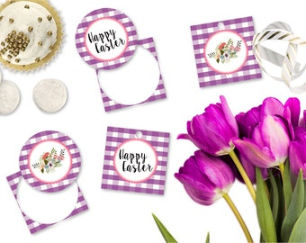 Printable Easter Gift Tags, Happy Easter Cupcake Toppers, Printable Purple Buffalo Plaid Easter Gift Tags by SUNSHINETULIPDESIGN