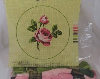 Pink Rose 22 Count Canvas & thread  FREE SHIPPING USA