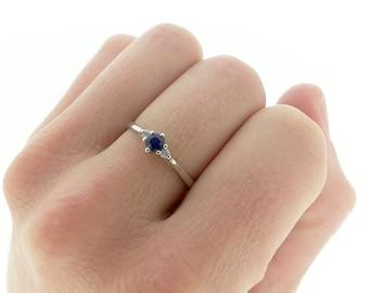Vintage Sapphire Diamond Trilogy Engagement Ring