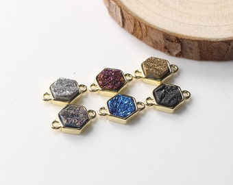 SALE Rough Tiny Druzy Hexagon Connectors -- Druzzy Drusy With Electroplated Gold Edge Charms Wholesale Supplies YHA-011