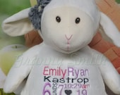 "WHITE LAMB Custom birth announcement 16"" personalized Easter basket plush. Baby, newborn, shower, christening, special event, holiday,"