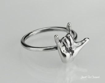 I Love You ASL Ring Solid 925 Sterling Silver Rings Sign Language Hand