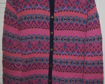 Vintage Fair Isle Cardigan, Soft Pink/ Turquoise Sweater Size XL
