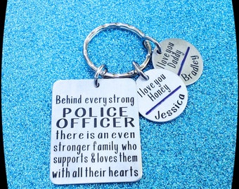 Police Officer Gift, Husband Police Officer Key Chain- police officer,  law enforcement, graduation gift, Thin Blue Line Gift, engraved