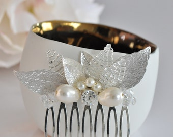 Comb married silver leaves - wedding jewelry