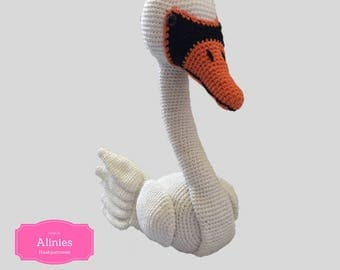 Swan amigurumi pattern tutorail crochet pattern pdf bestand in Dutch Englisch US terms