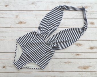Swimsuit High Waisted Vintage Style One Piece Pin-up Bathing Suit - Nautical Sailor Style Navy and White Striped Retro Backless Swimwear