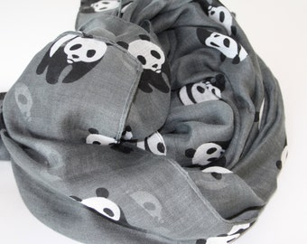 Womens scarves - Panda print scarves  - Unique handmade scarves - Fashion scarves - Summer scarves - Animal print scarf - Cute animals items