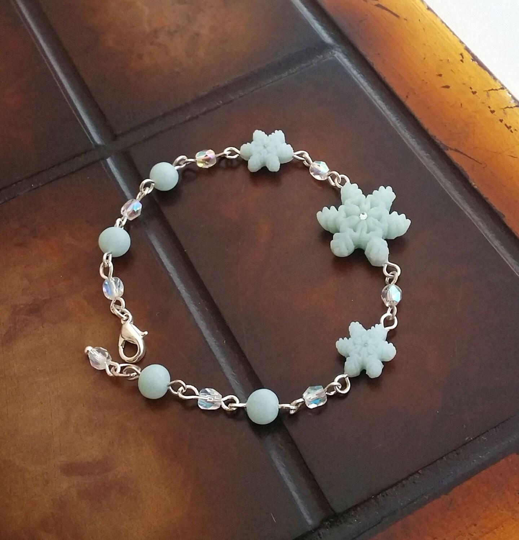 Snowflake Charm Bracelet: Blue Ice Quartz Snowflake Charm Bracelet Handmade From Polymer