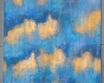 Large wall art, blue and gold abstract painting, Handpainted acrylics on 26 inch square canvas, original cloud art UK: 'After the Storm 2'