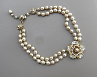 Miriam Haskell Vintage Jewelry Miriam Haskell Necklace High End Jewelry Champagne Pearl Necklace Baroque Pearl Necklace Double Choker