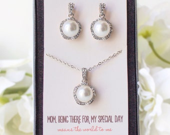 Bridesmaid Jewelry Set Pearl Necklace and Earring Set Bridesmaid Jewelry Set Bridal party necklace set Mother of the Bride Necklace N511S