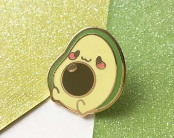 Chubby Avocado Buddy Hard Enamel Lapel Pin Cute Fat Fruit Vegetable Veggie Vegan Kawaii Super Food Gold Plated Pin