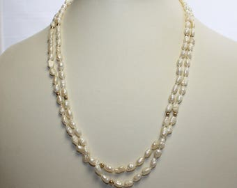 Vintage Hand Knotted Double Strand Genuine Freshwater Rice Pearl 14k Necklace