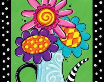 Monogrammed Whimsical Flower Pot Garden Flag