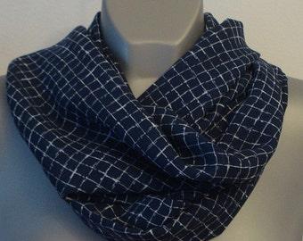 Dark blue infinity scarf, Plaid circle scarf, Chiffon, lightweight Loop neck scarf, Women fashion, geometric scarves, blue, white neck wrap