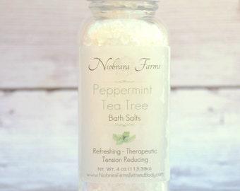 Peppermint Tea Tree Bath Salts - Natural Bath Salts - Spa Bath Salts - Detoxing Bath Salts - Tension Reducing Salts - Refreshing Bath Salts