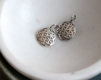 Small Flower of Life Pendant,Flower of Life Charm,Sterling Silver,Sacred Geometry,Charms,Yoga Jewelry,New Age Jewelry,AK16-1115,  Pairs