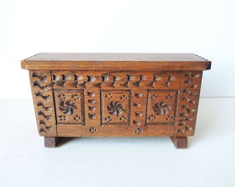 Small Wooden Chest  Chip Carved
