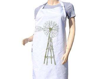 kitchen apron olive green windmill apron large apron bbq apron farm apron - Kitchen Gift Ideas For Mom