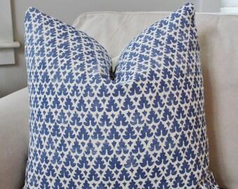 Quadrille Pillow Cover // Blue White Volpi Quadrille Linen Custom Designer Square Throw Pillow, Accent Pillow, Toss Pillow