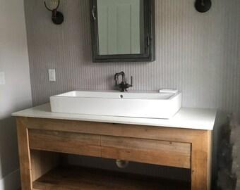 Rustic Vanity   Reclaimed Barn Wood Vanity (Unfinished) #1337