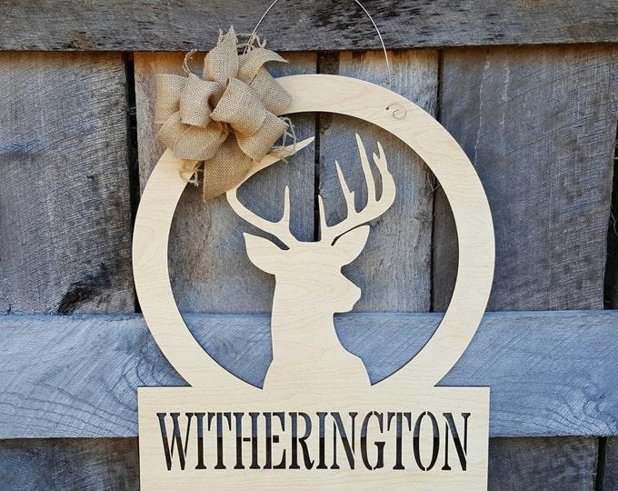 Personalized Deer Door Hanger - Deer Wall Hanging - Hunting Decor - Gift